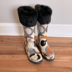Coach Rain Boots with rabbit fur cuff